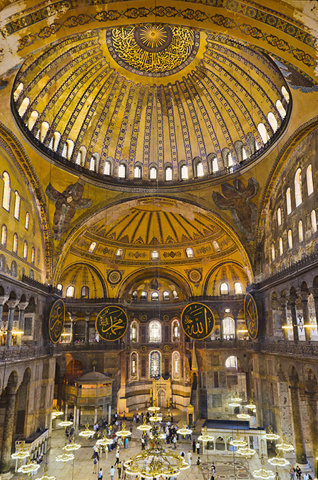 The Church of Hagia Sophia in Constantinople (modern Istanbul, Turkey) by Anthemius of Tralles and Isidorus of Miletus, 532-537. Photo: Getty Images/Tetra Images