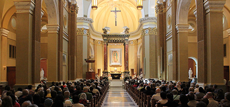 Pilgrims attend the anniversary Mass at the Shrine of Our Lady of Guadalupe in La Crosse, Wisconsin. Photo: Shrine of Our Lady of Guadalupe