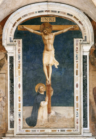Saint Dominic at the Foot of the Cross by Fra Angelico in the convent of S. Marco, Florence