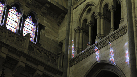 Stained-glass windows in the cathedral of Lille give color and coherence to the light of the sun.