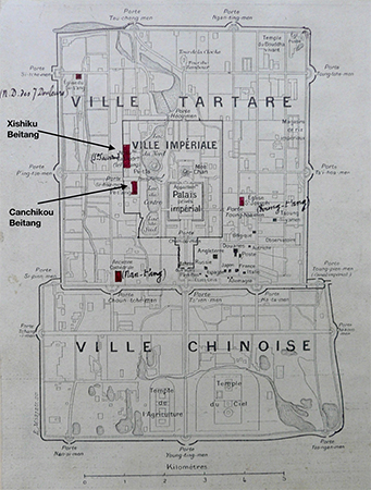Bishop Alphonse Favier's map of central Beijing identifying the locations of the Canchikou and Xishiku Beitang churches in relation to the Forbidden City, which is located in the center of the map. Ca. 1901. Image: Congrégation de la Mission Archives Historiques, Paris