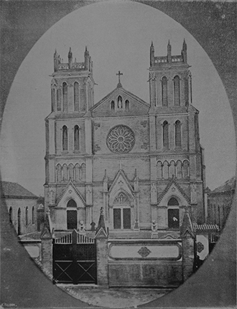 The second Beitang church at Canchikou, designed by the French ecclesial architect Bernard Gustave Bourrières in 1867. This church was erected in the Gothic style and included two grand towers and a rose window. Ca. 1870. Photo: Congrégation de la Mission Archives Historiques, Paris
