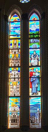 Two panels representing the style and theme of the newly-installed stained-glass windows in the Xishiku Beitang cathedral. The left panel features the major historic Roman Catholic churches built in Beijing; Beitang is located fourth from the top. The right panel features four important persons in the history of Chinese Catholicism. The uppermost person is the architect of Beitang, Bishop Alphonse Favier, CM, seated and holding a Chinese book. Photo: Anthony E. Clark, private collection