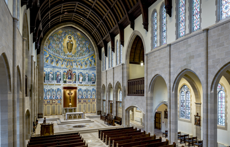 View of the renovated interior of the chapel. Photo credit: William Heyer Architect