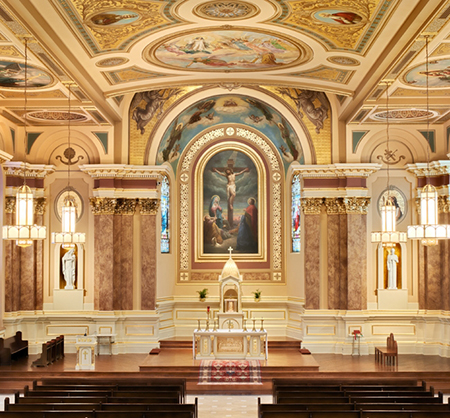 Saint Thomas Aquinas Church in Archbald, Pennsylvania, immediately following a ceiling collapse in 2009, and after a renovation was completed in 2011. Photo: crisismagazine.com