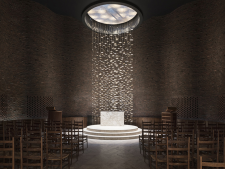 Interior of the Chapel at MIT by Eero Saarinen, 1955. Photo credit: Lee Kennedy Co. Inc