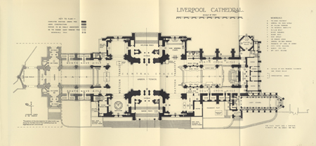 Scott's final floor plan, 1927. Photo credit: Cotton, V.E. The Book of Liverpool Cathedral