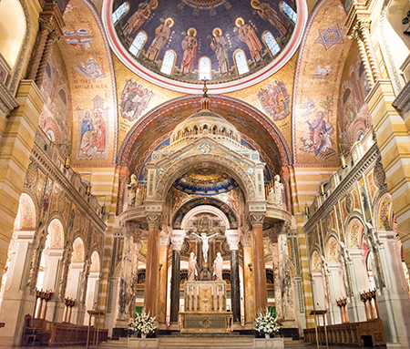 The Cathedral Basilica of Saint Louis in Saint Louis, Missouri, has a domed baldacchino and sanctuary dome above the altar. Photo: Sherrie Jackson