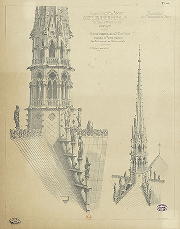 Viollet-le-Duc's design for a new flèche, completed in 1859. Image: Viollet-le-Duc