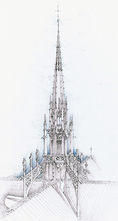 "Sketch of a new ""proposed"" flèche design by the author. The proposed flèche is elevated from early Gothic and Rayonnant styles to a chronological successor, the Flamboyant style. Image: C. J. Howard"