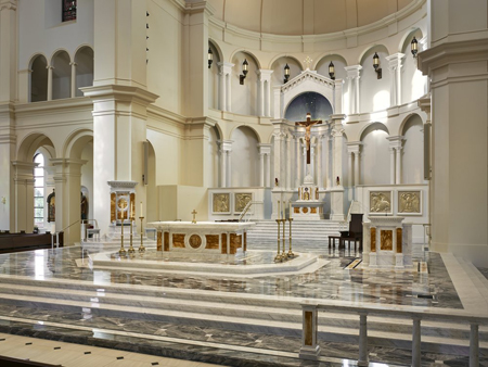 Sanctuary with marble altar, ambo, and cathedra. Photo credit: O'Brien and Keane