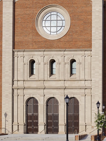 Cast-stone detailing at the front façade of the new cathedral. Photo credit: O'Brien and Keane