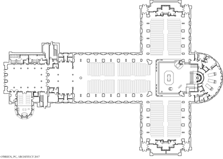 Plan of the cathedral. Photo credit: O'Brien and Keane