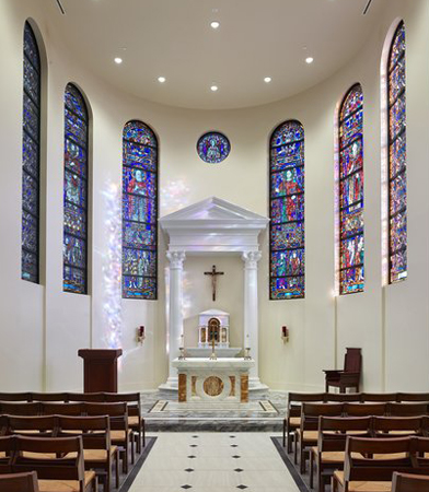 All Saints Chapel is located off of the narthex. Photo credit: O'Brien and Keane