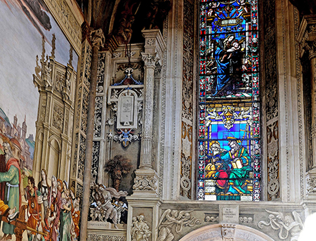 Chapel of Filippo Strozzi, Santa Maria Novella, Florence. Frescos and stained glass by Filippino Lippi, 1487-1502. Credit: Author