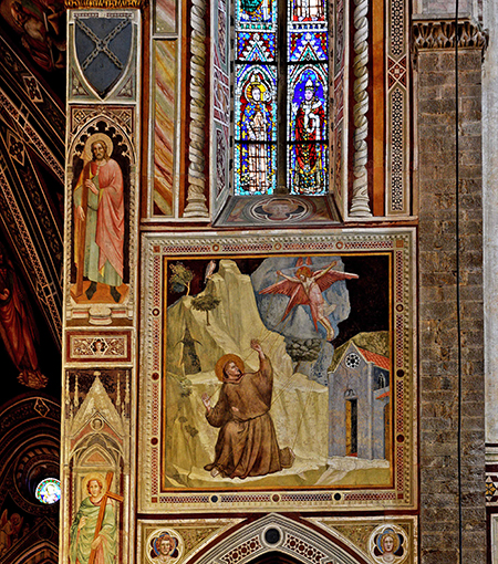 Bardi Chapel, Santa Croce, Florence. Stigmatization of Saint Francis and window by Giotto around 1310. Photo: Michel M. Raguin