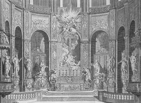 An engraving by Jean-Baptiste Scotin shows the interior of Notre-Dame in the early eighteenth century, before Viollet-le-Duc's renovation. Image: wikimedia.org