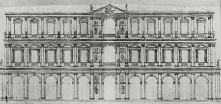 Andrea Palladio's Classical design for rebuilding the Doge's Palace in Venice after a fire in 1577 was rejected in favor of reconstructing the Gothic façade. Image: The Drawings of Andrea Palladio by Douglas Lewis
