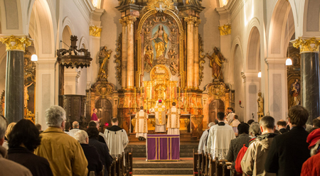 The Most Reverend Steven J. Lopes, Bishop of the Personal Ordinariate of the Chair of Saint Peter, celebrates a Solemn Pontifical Mass in Marienkirche, Herzogenrath, during the colloquium