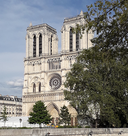 The west façade of Notre-Dame remains intact after the fire. Photo: Steven W. Semes