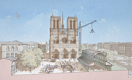 """A Vision for Notre Dame"" Reconstruction Proposal. Photo: www.AVisionForNotreDame.com by Renaildo Hernandez, Jacques Levet, and Rene Salas"
