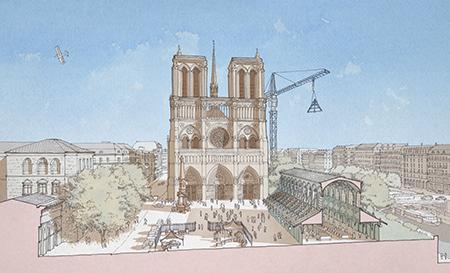 """A Vision for Notre Dame"" Reconstruction Proposal. Photo: www.AVisionForNotreDame.com by Renaildo Hernandez, Jacques Levet, and Rene Salas"