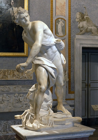 David by Gian Lorenzo Bernini, 1624, located in the Galleria Borghese in Rome