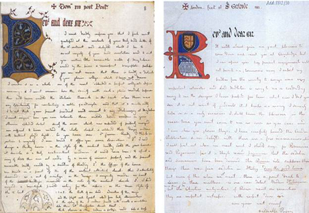 Illuminated letters from Pugin. The left to J.R. Bloxam, fellow of Magdalen College, Oxford, Pugin's principal liaison with the Oxford Movement. The right to J.F. Russell, member of the Cambridge Camden Society.