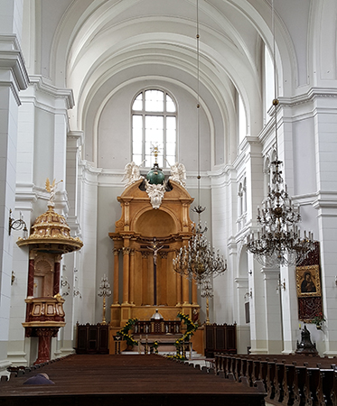 The Church of Holiest Savior was rebuilt immediately after the war, reopening in 1948. Photo: Marcus van der Meulen