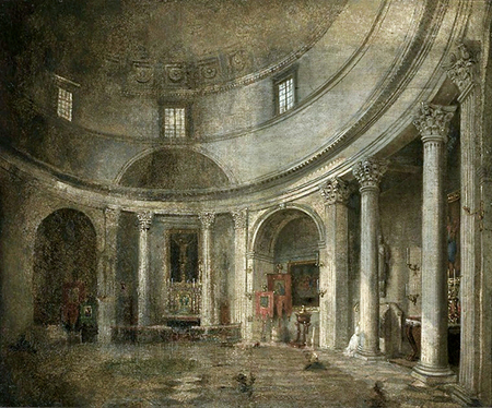 Anonymous painting of the original interior of Saint Alexander in Three Crosses Square, Warsaw. Image: wikimedia.org
