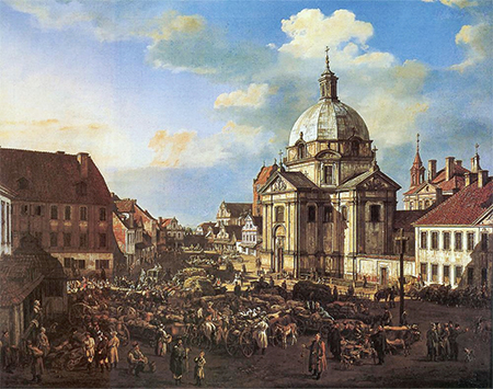 Bellotto's painting of New Town Market Square with the Church of Saint Casimir, 1778. Image: wikimedia.org