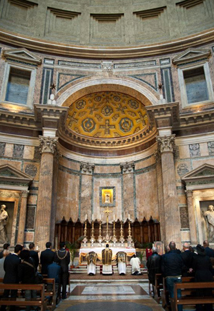 A Requiem Mass celebrated at Santa Maria ad Martyres in Rome. The Pantheon, built in the second century, was consecrated as a church on May 13, 609. Photo: New Liturgical Movement/Luca Schirano