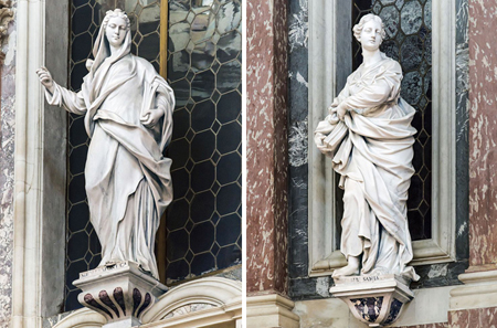 The Hellespontine Sibyl and the Sibyl of Samos are two of the six statues of pagan sibyls in the church of Saint Mary of Nazareth in Venice, also known as the Scalzi. Photo credit: wikimedia.org/Didier Descouens