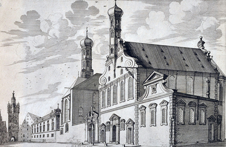 Holy Cross Lutheran Church in Augsburg as it appeared in 1703. Photo credit: wikimedia.org/Zisska & Schauer