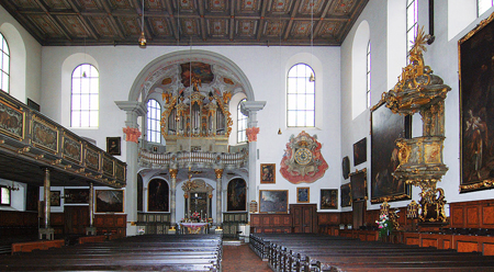 The interior of Holy Cross Church was redecorated in 1730. Photo credit: wikimedia.org/Otto Schemmel