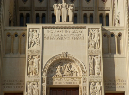Inscriptions above the main entrance of the Basilica of the National Shrine of the Immaculate Conception in Washington, D.C. Photo credit: flickr.com/cath4ever
