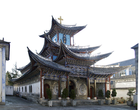 architectural styles of churches. this church was erected in 1938 and features spectacular, chinese-style sweeping curved roofs supported by brightly painted elaborate bracket systems. architectural styles of churches